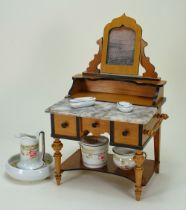 A good dolls cherry wood and marble wash stand, German circa 1890,