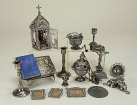 Collection of 19th century soft metal church ornaments,