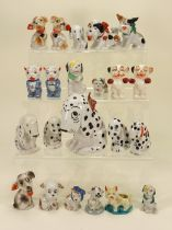 Collection of Dismal Desmond and other glazed china dog figurines,