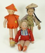 Three theatre Pantomime cloth character dolls, 1930s,
