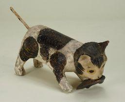 An early papier-mâché nodding cat with mouse, 19th century,