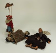 Papier-mache topsy-turvy toy and Jester jointed toy, 19th century,