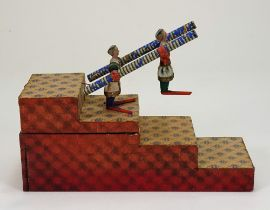 Rare early tumbling double acrobat toy, German mid 19th century,