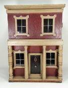 A good painted wooden dolls house, English circa 1870,