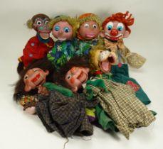 Seven Pelham Puppet Vent dolls, 1970s,