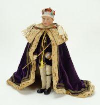 Farnell Alpha Toys King George VI felt portrait doll in Coronation robes, circa 1937,