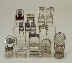 Collection of miniature silver and white metal furniture, late 19th/20th century,