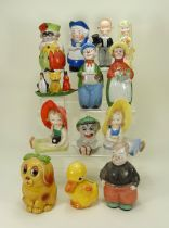 Collection of glazed china character people and animal novelty figures,