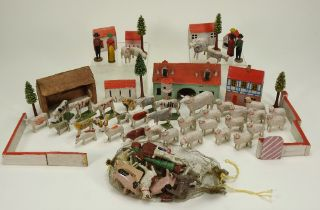 Collection of Erzgebirge wooden Farm and animals, German 19th century,