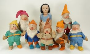Chad Valley large size Snow White and the Seven Dwarfs soft toys, circa 1937,