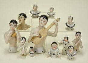 Collection of glazed china Pierrot half dolls,