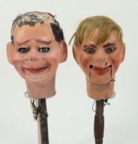 Two professional Ventriloquist Dummy heads, 1930s,