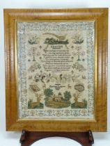 Early Victorian sampler by Elizabeth Langton, English 1844,