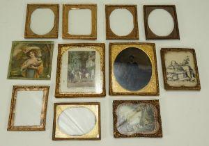 Ten gilt framed dolls house picture frames, 19th century,