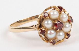A 9ct gold, pearl and garnet cluster ring