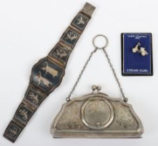 A Siamese silver niello bracelet, made up of panels of dancers