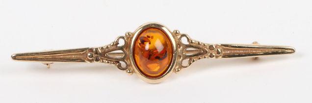 A 9ct gold and amber set bar brooch