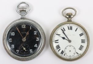 An Elgin GSTP (General Service Time Piece), with black dial, with another pocket watch (2)