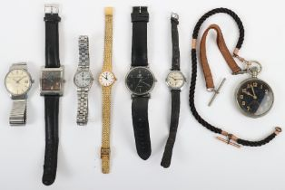 A selection of watches and a military style pocket watch