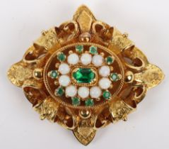 An 18ct gold, emerald and opal lozenge shaped brooch,