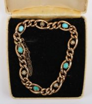 A 15ct turquoise and pearl bracelet