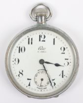 An Elco pocket watch, enamel dial with Arabic numerals and subsidiary dial
