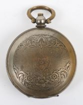 An interesting early 20th century silverplated full hunter pocket watch