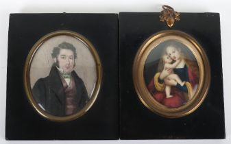 A 19th century portrait miniature on porcelain of a gentleman (cracked)