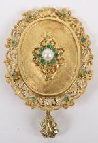 An 18ct gold, emerald and pearl pendant