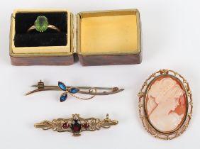 A 9ct gold cameo brooch, 3.5cmH