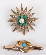 A 9ct gold and turquoise knot design brooch