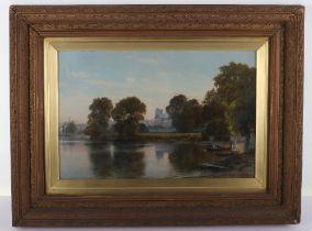 John Mulcaster Carrick (1833-1896), oil on canvas, scene of the Thames at Twickenham