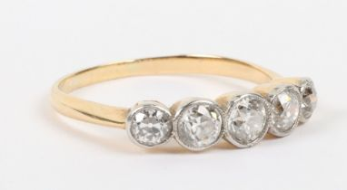 Early 20th century 18ct gold and five stone diamond ring