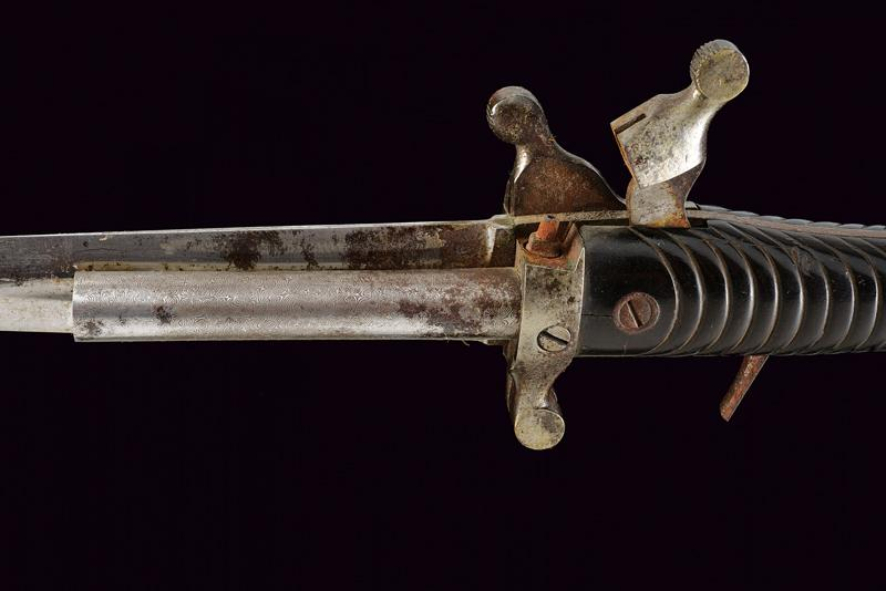 A Dumonthier type double barrelled percussion knife-pistol by A. Francotte - Image 7 of 9