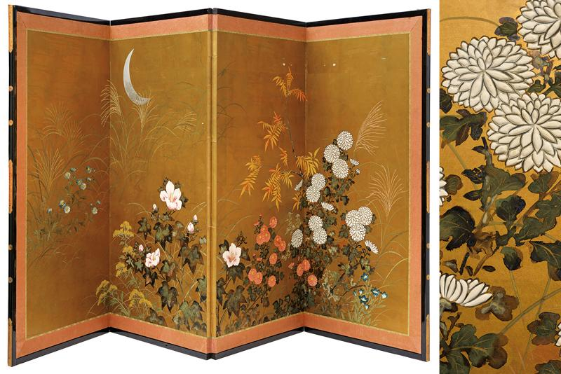 A four-panel screen