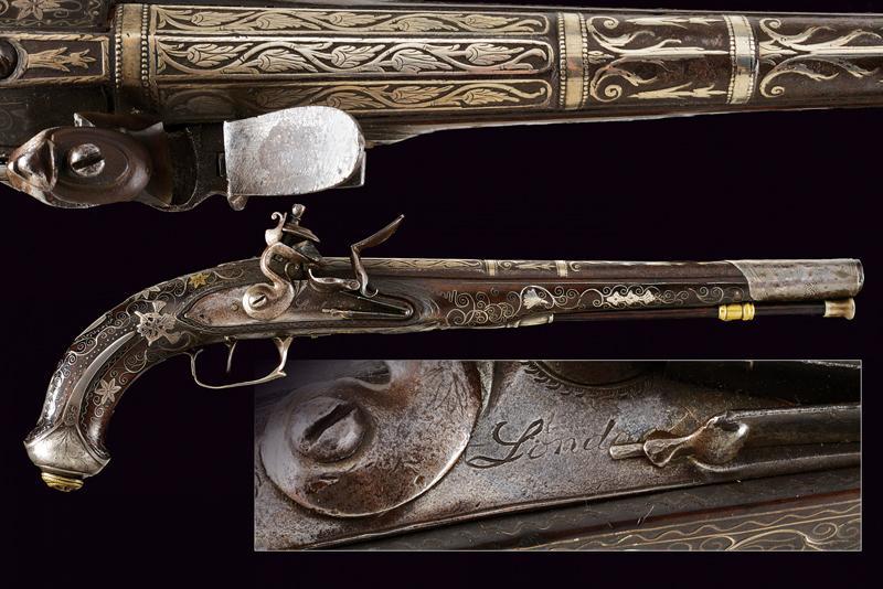 A fine flintlock pistol with silver mounts