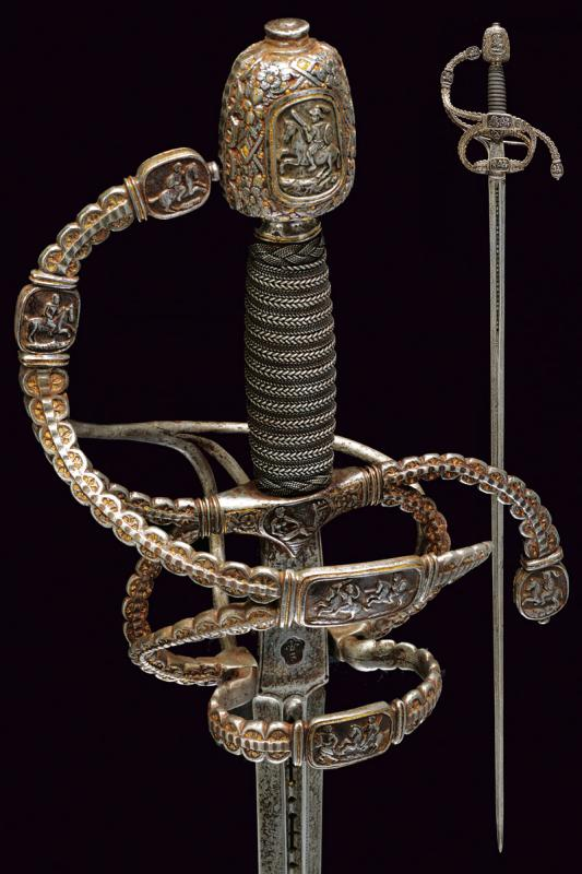 A magnificent swept hilt rapier in the style of Othmar Wetter