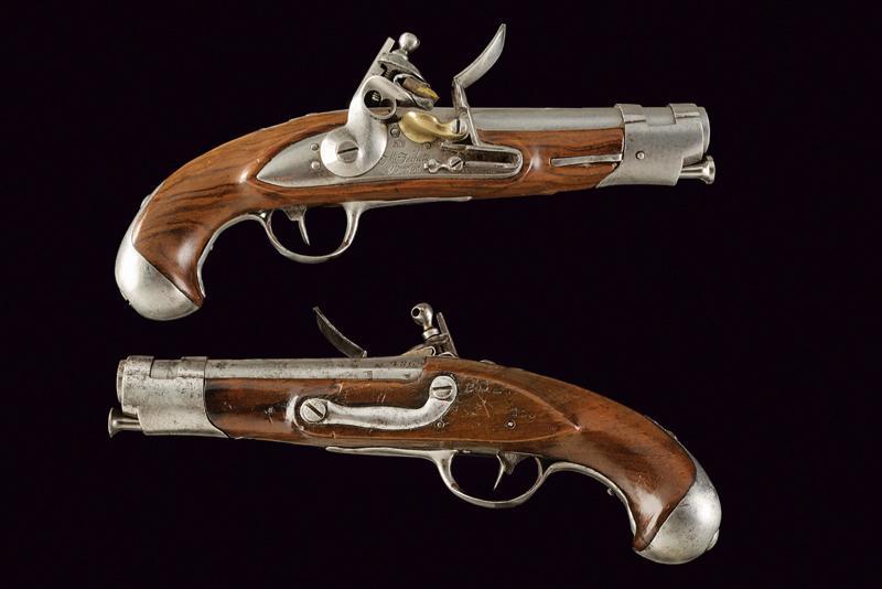 A pair of gendarmerie flintlock pistols by Facchetti