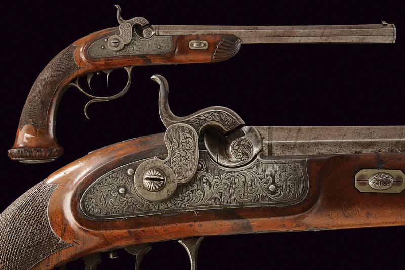 A fine percussion target pistol by Sanftl