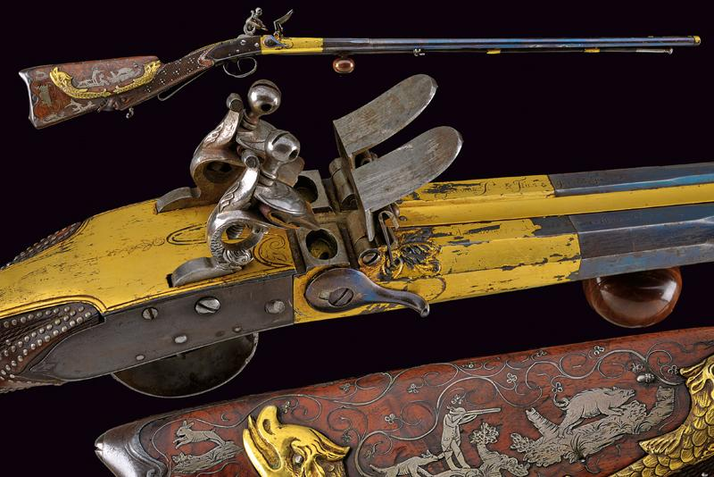 A very rare double-barrelled flintlock sporting gun by Gauvain