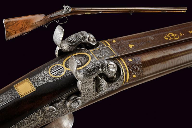A beautiful double-barrelled shotgun by Maschek