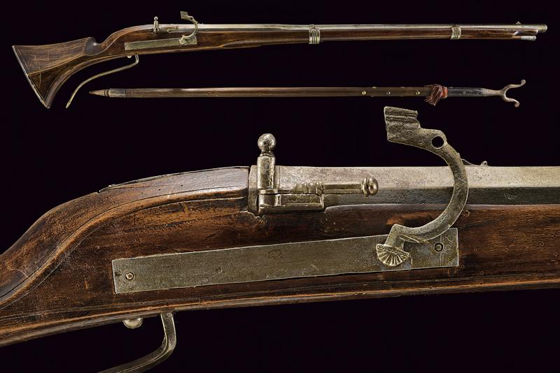 A matchlock gun with fork