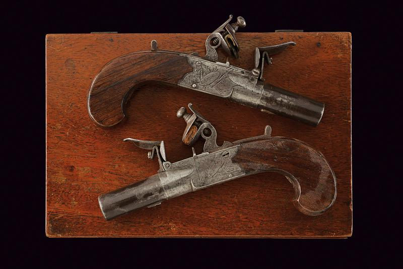 A pair of cased flintlock pocket pistols by Hill - Image 2 of 4