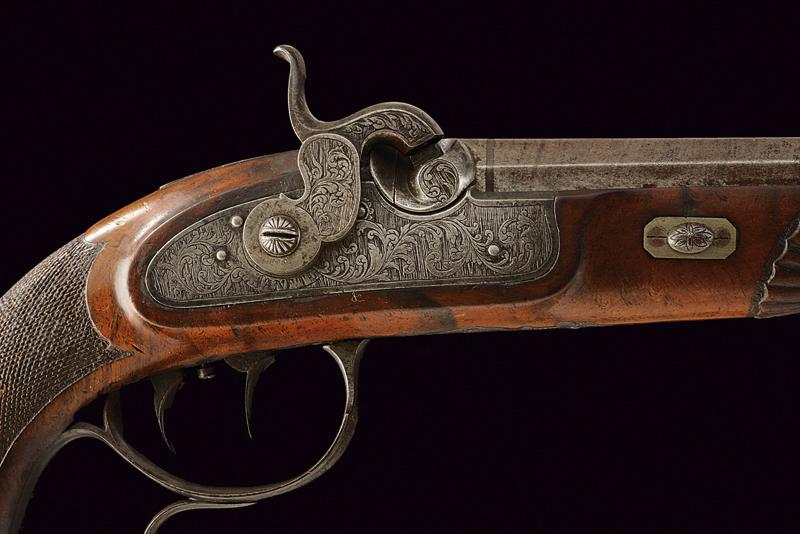 A fine percussion target pistol by Sanftl - Image 2 of 6