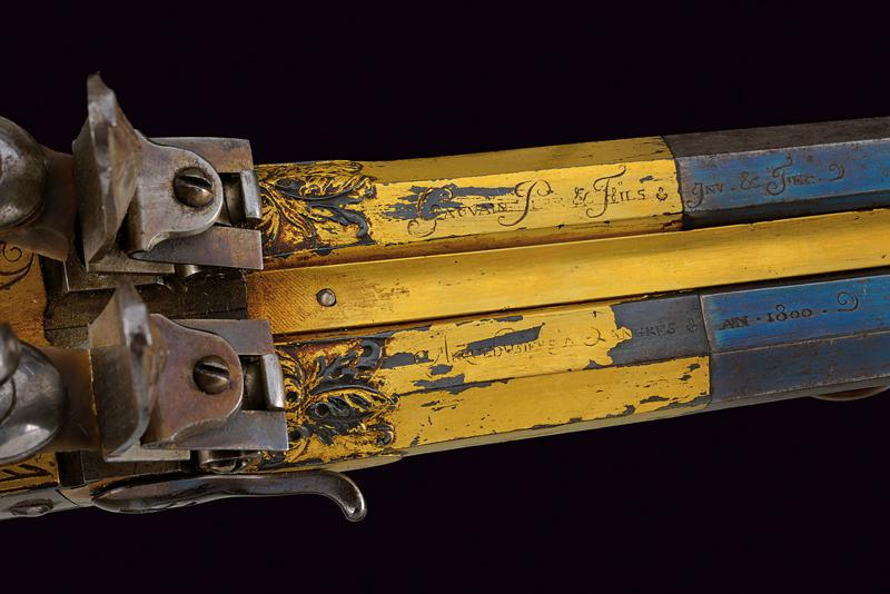 A very rare double-barrelled flintlock sporting gun by Gauvain - Image 6 of 14