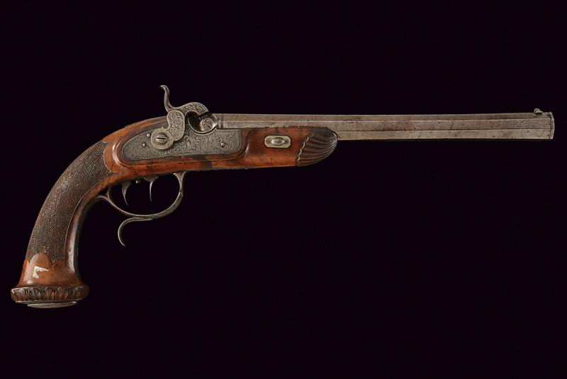 A fine percussion target pistol by Sanftl - Image 6 of 6
