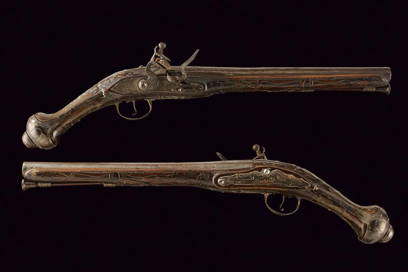 A pair of flintlock pistols