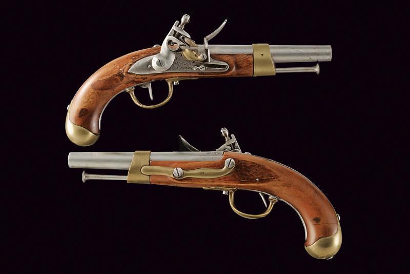A pair of AN IX flintlock pistols