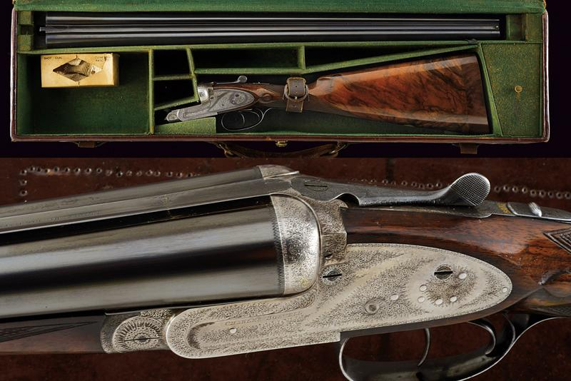 A Charles Boswell Mod. HH cased double-barreled shotgun
