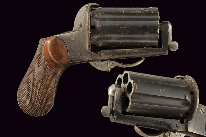 A pin fire pepperbox revolver